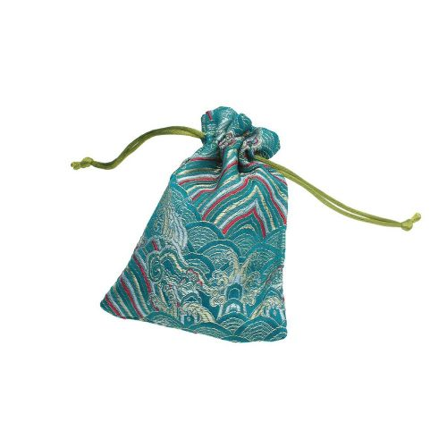 Satin pouch with pattern / 14x10cm / turquoise / 2pcs