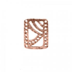 Copper Plated Small Patterned Rectangle Connector 15x21mm Pk1