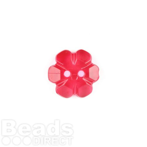 Red Transparent Flower 2 Hole Buttons 13mm Pk5