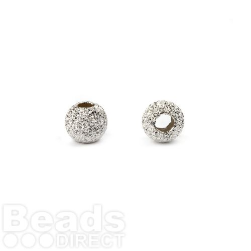 Sterling Silver 925 Frosted Round Beads 3mm Pk10