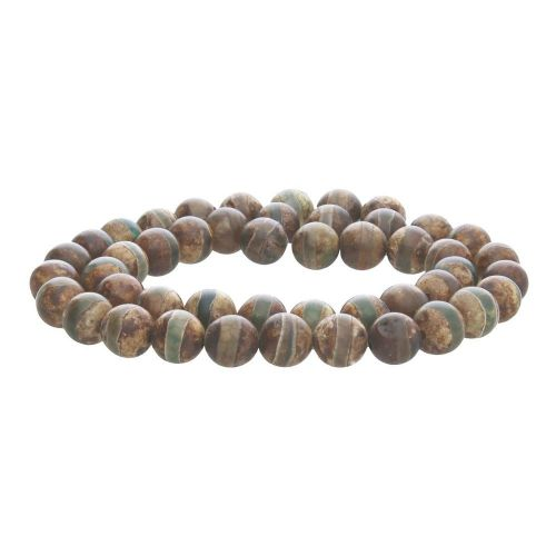 Tibetan agate / round / 12mm / light brown-green / 32pcs