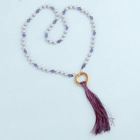Ultra Violet Knotted Tassel Necklace Kit made with Swarovski TAMB makes x1