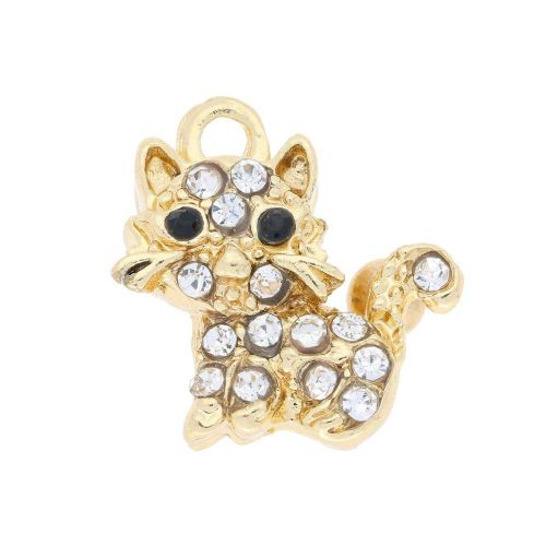 Glamm ™ Cat / charm pendant / with zircons / 18x16x7.5mm  / gold plated / Crystal / 1pcs