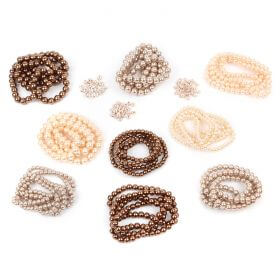 Beads Direct Gold and Bronze Pearl and Crystal Spacer Bundle - 9 Strands + 100 Spacers