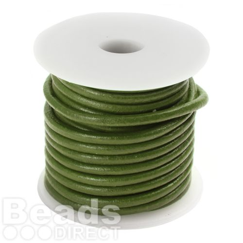 Green Round Leather 3mm Cord 5 Metre Reel