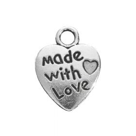 Heart - made with love / charm pendant / 13x10x1.5mm / silver / 20pcs