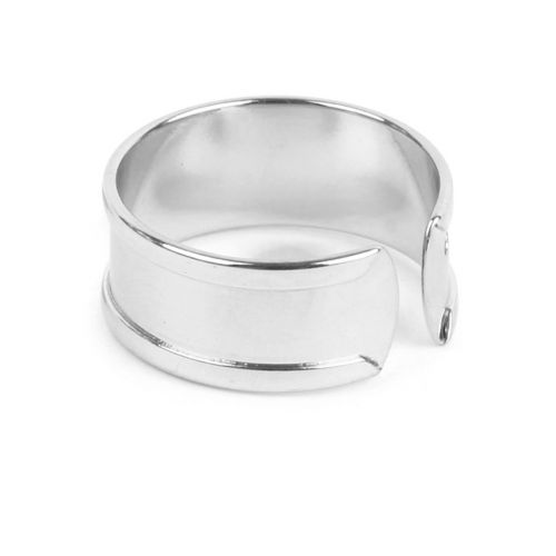 Rhodium Plated Ring Base For 5mm Cord Pk1