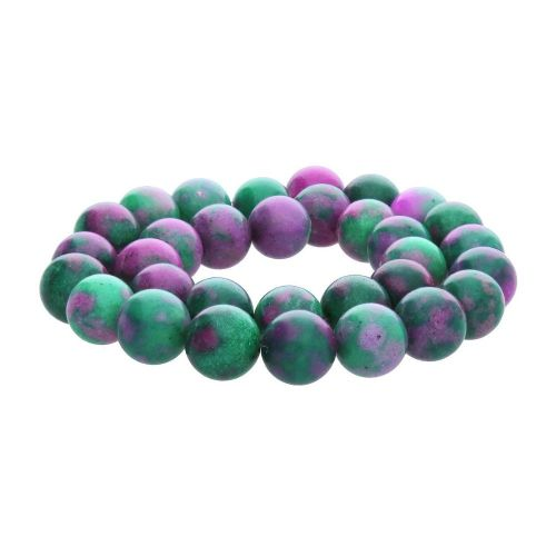 Zoisite with ruby (synthetic) / round / 12mm / 32pcs