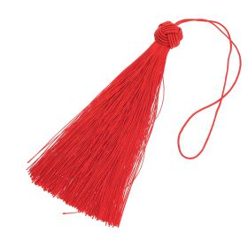 Tassel / viscose thread / MAXI / braided tip / 145mm / red / 1pcs