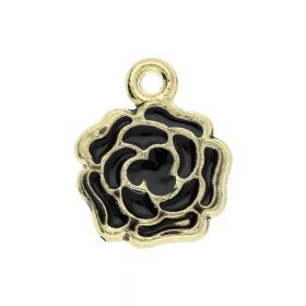 SweetCharm ™ Flower / charm pendant / 13x11x1.5mm / gold plated / black / 2pcs