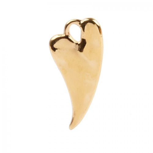 Gold Plated Zamak Irregular Heart Charm 11x23mm Pk1