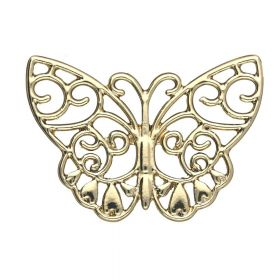 Openwork butterfly / pendant / 26x38x2mm / gold plated / 1pcs