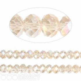 Essential Crystal Faceted 6mm Rondelle Champagne AB 100pack