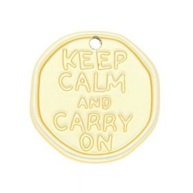 Keep calm and carry on / charm / 28x27x2mm / satin gold / 1pcs