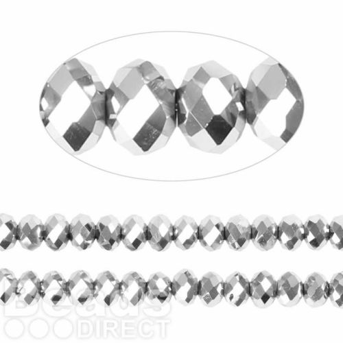 Essential Crystal Faceted 6mm Rondelle Silver AB 100pack