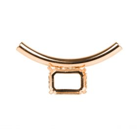 'Aura' Rose Gold Plated Tube Bead For 18x13mm Crystal 17x50mm Pk1