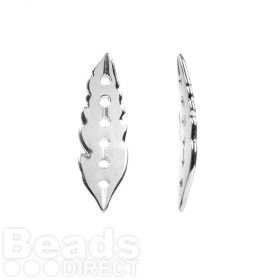 Antique Silver Zamak Feather Connector 6 Hole 12x38mm Pk1