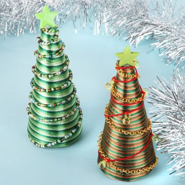 Beaded Christmas Tree Cone