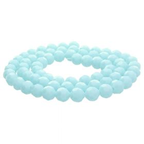 CrystaLove™ crystals / glass / faceted round / 8mm / pale blue / lustered  / 65pcs