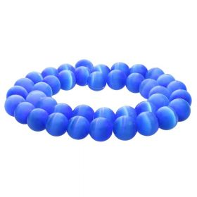 Cat's eye / round / 10mm / blue / 40pcs