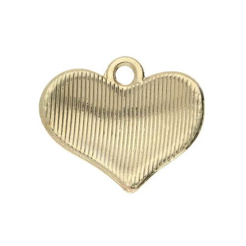 Glamm ™ Heart / charm pendant / with zircons / 18x15mm / gold plated / 1pcs