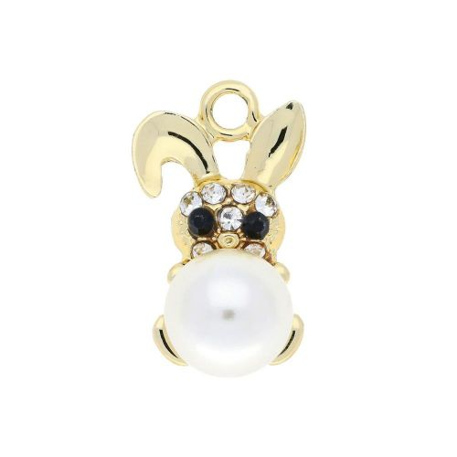 Glamm ™ Rabbit with pearl / charm pendant / 9 zircons / 23x13x12mm / gold plated / 1pcs