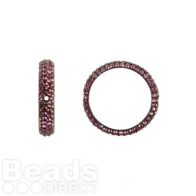 85001 Swarovski Crystal Pave 2 Hole Ring 18.5mm Crystal Lilac Shadow Pk1