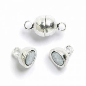 Silver plated magnetic oval clasp 11mm, Pk 10