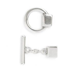 Silver Plated Zamak Large Toggle Clasp 30x50mm for 2x10mm Cord Pk1