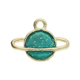 SweetCharm ™ Saturn / Pendant / 12x16x2.5mm / gold plated / green / 2pcs