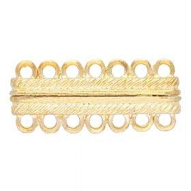 Magnetic clasp / wide / 7 loops / 13x30x5.5mm / gold / 1.5mm hole / 1pcs