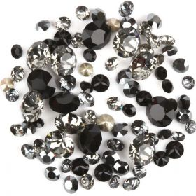 1088 Swarovski Crystal Chaton Black Mix Assorted Sizes 2g