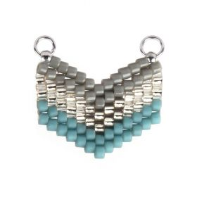 Silver/Grey/Turquoise Miyuki Seed Bead Arrow Connector 14x17mm Pk1