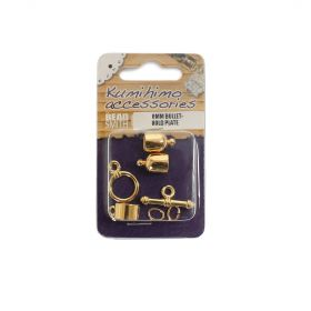 Kumihimo Findings Set 6mm Bullet Gold Plated