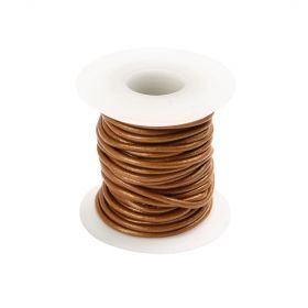 Copper Round Leather Cord 1mm 5 Metre Reel