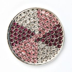 Silver Plated Pink/Purple Crystal Coin Disk for Interchangeable Locket 32mm Pk1
