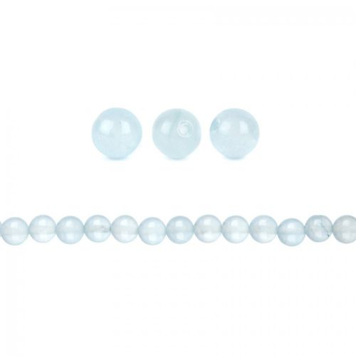 X-Dyed Aqua Blue Jade Semi Precious Round Beads 8mm Pk10