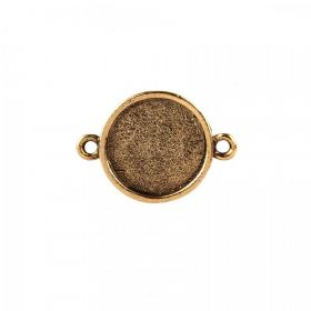 Nunn Design Antique Gold Small Connector Round Bezel 15mm Pk1