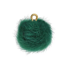 Pom pom / pendant / 15mm / green / 4pcs