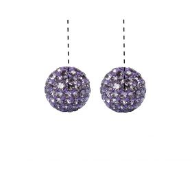 Purple Premium Shamballa Fashion Half Drilled 10mm Round Beads Pk2