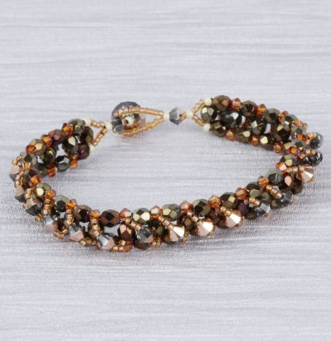Bronze Crystal Layers Bracelet