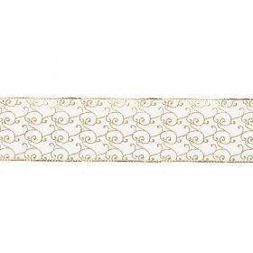 Gold and White Filigree Print Fancy Ribbon 40mm Pre Cut 1m Length