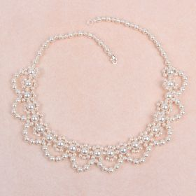 White Pearl Collar Necklace made with Swarovski TAMB Kit - Makes x1