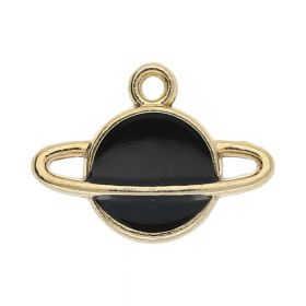 SweetCharm™ planet saturn / charm pendant / 12x16x2.5mm / KC gold-black / 2pcs