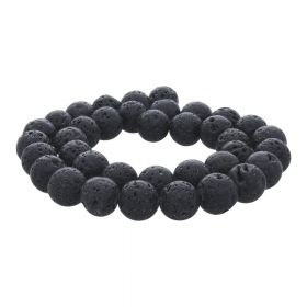 Volcanic lava / round / 10mm / black / 36pcs