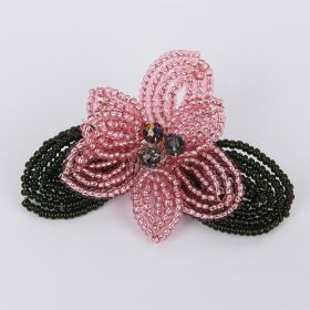 Peach and Silver Christmas French Beaded Flower Brooch Kit - Makes x1