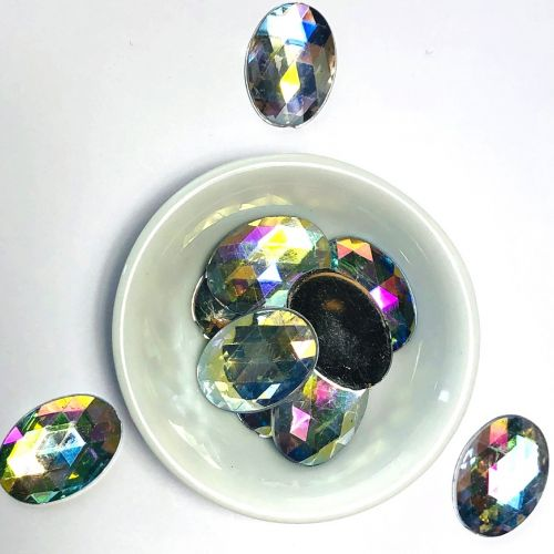 Acrylic / flat back / faceted / oval / embellishment / crystal AB / 18x24x2mm / ~10g