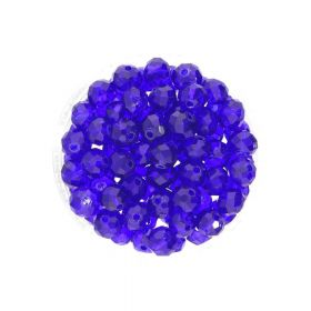 CrystaLove™ crystals / glass / rondelle / 6x8mm / navy / transparent / 72pcs