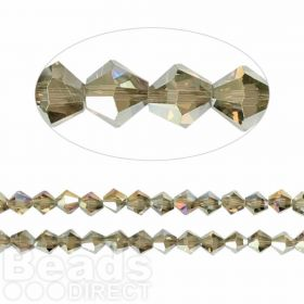 Essential Crystal 6mm Bicones Gunmetal AB Pk50