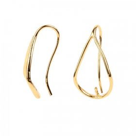 Gold Plated Drop Earring Finding with Post 25mm Pack of 2